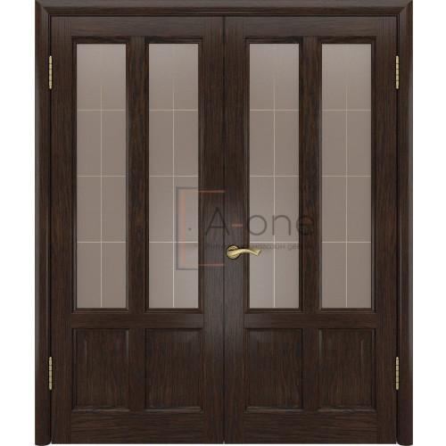 Двойная дверь остекленная Титан 3 мореный дуб