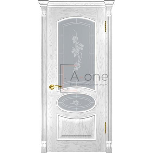 Дверь Грация дуб белая эмаль остекленная