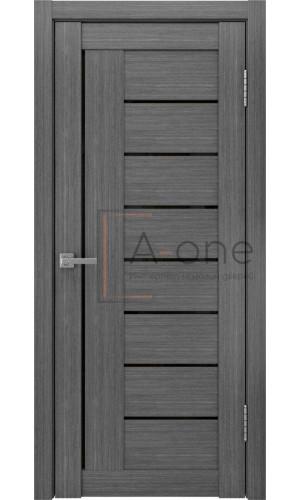 Дверь межкомнатная с черным стеклом ЛУ 17 серый