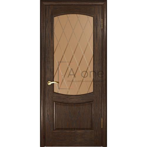 Межкомнатная дверь Лаура 2  Мореный дуб, стекло