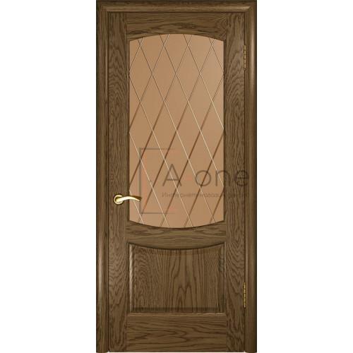 Межкомнатная дверь Лаура 2 Светлый мореный дуб остекленная