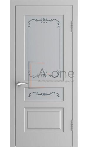 Ульяновская дверь серая эмаль L-2 остекленная цвет манхеттен