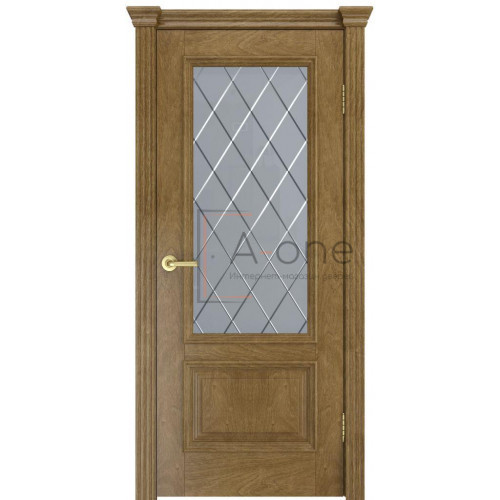 Дверь Лондон  шпон, межкомнатная, цвет дуб янтарный, остекленная