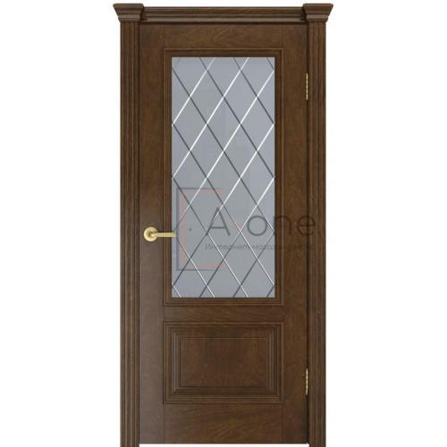 Дверь Лондон шпон, межкомнатная, цвет дуб виски, остекленная