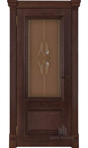 Ульяновские двери Regidoors Корсика натуральный шпон бренди остекленное