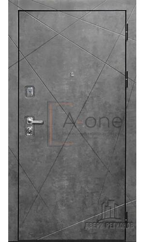 Дверь входная Прогресс, цвет темный бетон, панель - прогресс цвет светлый бетон