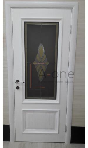 Ульяновские двери Regidoors Корсика натуральный шпон перла остекленное