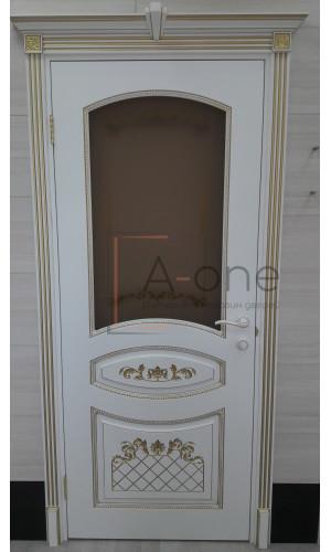 Ульяновские двери Regidoors Алина - 2 дверь эмаль белая с золотой патиной остекленное