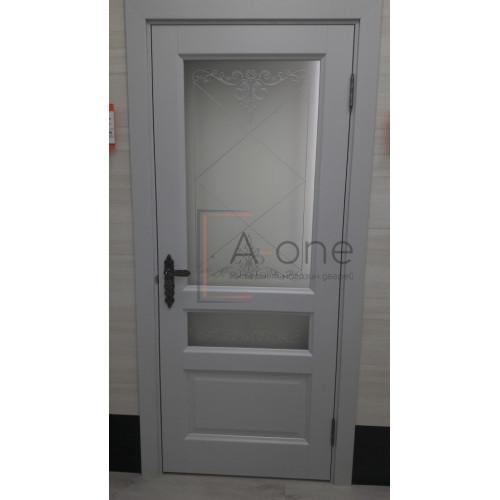 Ульяновская межкомнатная дверь Аликанте 2 серый шелк RAL 7047 остекленная
