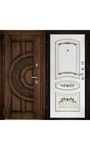 Атлант входная дверь с панелью Алина 2 белая эмаль патина золото