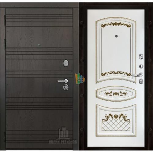 Министр входная дверь с белой панелью Алина 2 эмаль патина золото