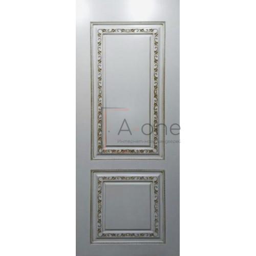 Кармен дверь эмаль белая с патиной золото