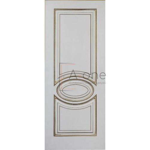 Верона 4 дверь эмаль белая с патиной золото, глухая