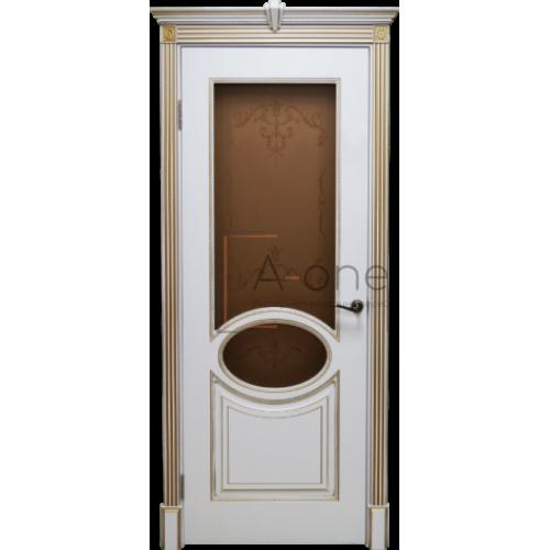 Верона 4 дверь эмаль белая с патиной золото, стекло