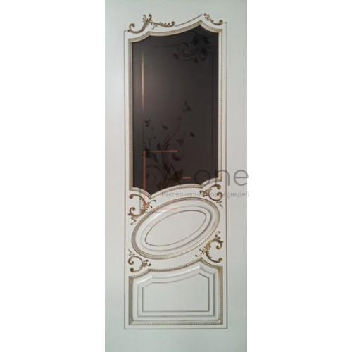 Маркиз дверь эмаль белая с патиной золото остекленная