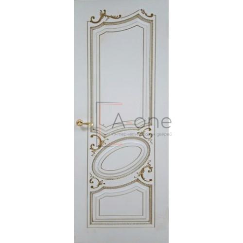 Маркиз дверь эмаль белая с патиной золото
