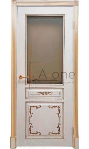 Вена — 2 дверь эмаль белая с патиной золото остекленная