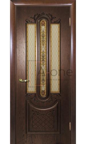 Александрия - 2 дверь шпон цвет мореный дуб остекленная
