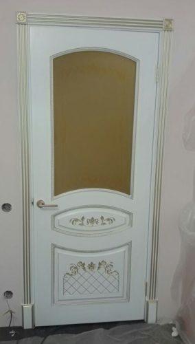 """Двери белые эмаль с золотой патиной - """"Алина-2"""""""