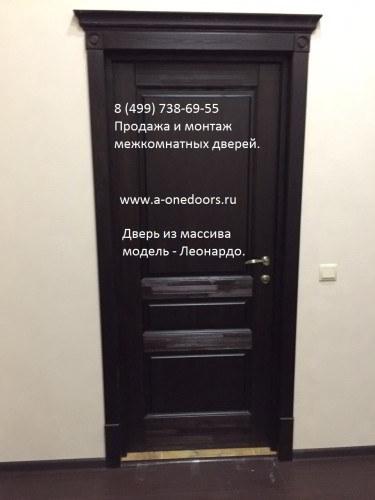 Дверь межкомнатная 100% массив цвет венге полотно глухое модель Леонардо в Химках и Зеленограде
