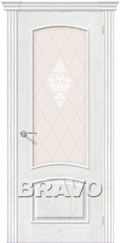 Дверь межкомнатная Амальфи натуральный шпон со стеклом цвет