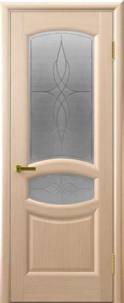 Дверь Анастасия белёный дуб стекло Византия с гравировкой(Складская)