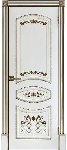 Алина 2 белая эмаль с золотом Ульяновские двери глухое