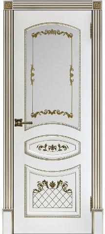 Алина 2 белая эмаль с золотой патиной стекло Двери Регионов
