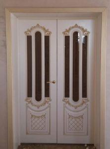 Александрия 2 эмаль белая со стеклом двойные двери в гостинную