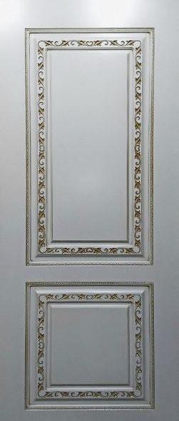 Дверь Кармен эмаль белая с патиной золото глухое