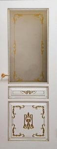 Дверь Вена 2 белая эмаль с патиной золото стекло