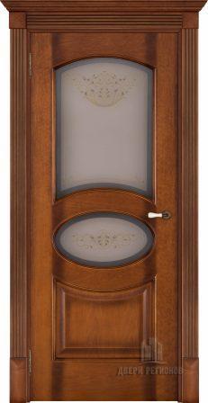 Флоренция Соло светлый мёд тон 5, стекло бронза Кристалайз N60, наличник плоский, карниз, подпятник N2, розетка N2