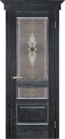 Вена черная патина стекло витраж вена, наличник канелюр, широкая корона (1)
