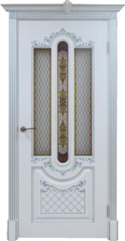 Дверь алексанрия 2 белая с патиной серебро остекленная
