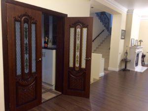 Александрия 2 мореный дуб остекленная вход в гостиную двойные двери