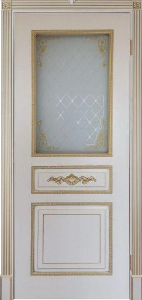 Дверь Лацио слоновая кость с золотом стекло